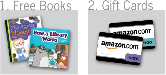 Free books or gift cards